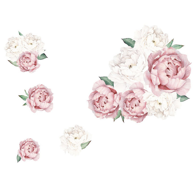Peony Flowers Wall Stickers finished look