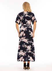Peony Navy Maternity Wrap Dress Backside