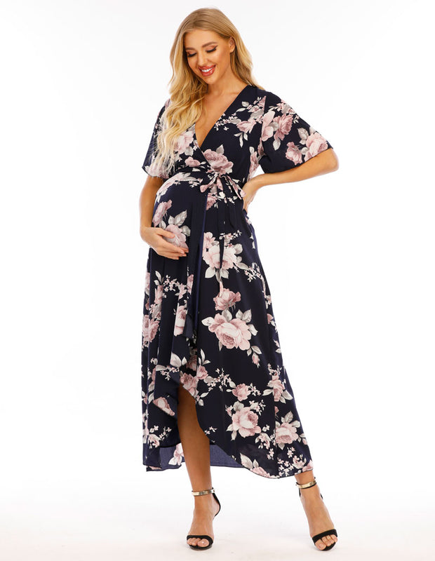 Peony Navy Maternity Wrap Dress front 2
