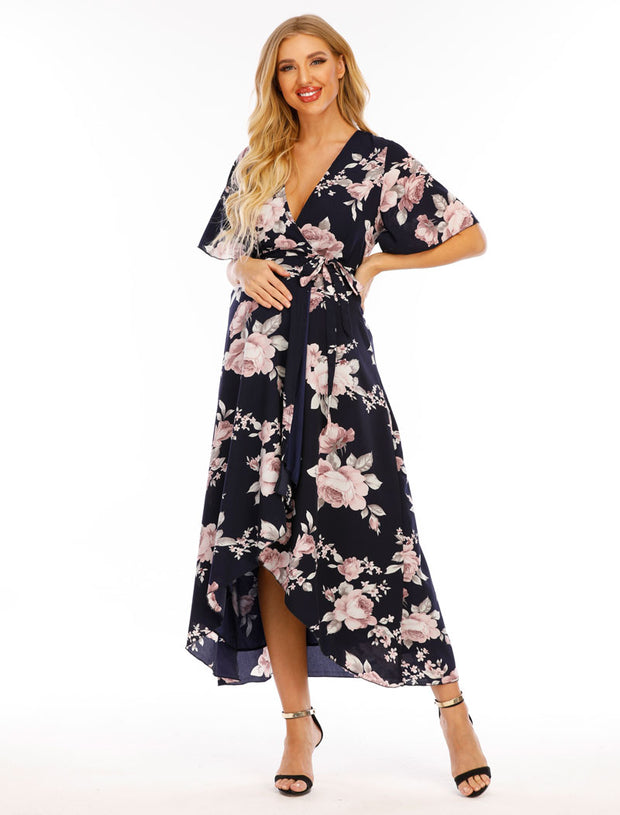 Peony Navy Maternity Wrap Dress front