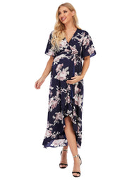 Peony Navy Maternity Wrap Dress front image