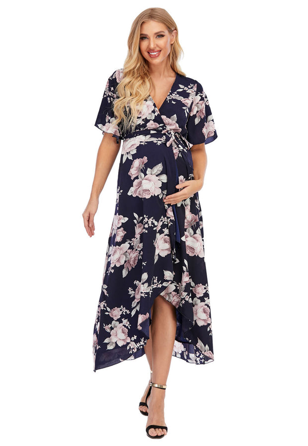 Peony Navy Maternity Wrap Dress hand