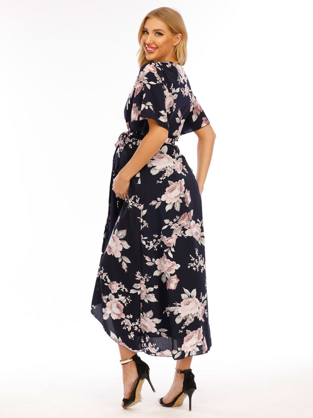 Peony Navy Maternity Wrap Dress side 2