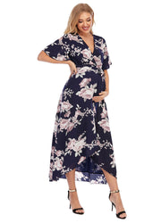 Peony Navy Maternity Wrap Dress side 4