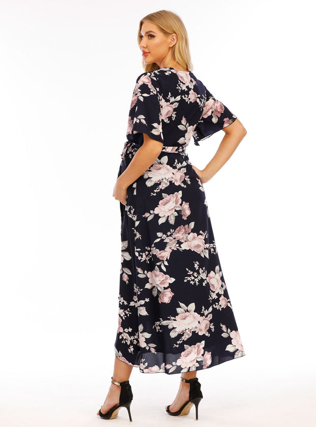 Peony Navy Maternity Wrap Dress side