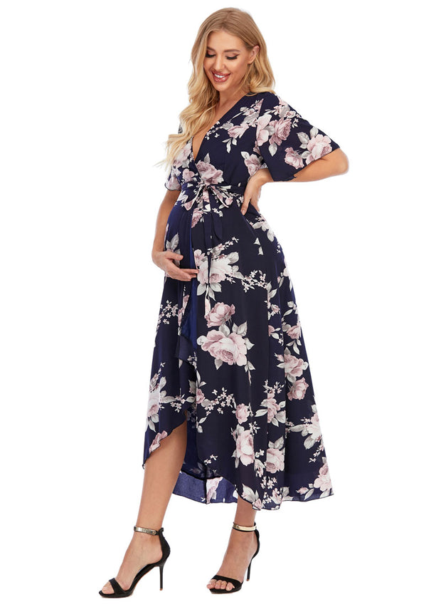 Peony Navy Maternity Wrap Dress side angle 3
