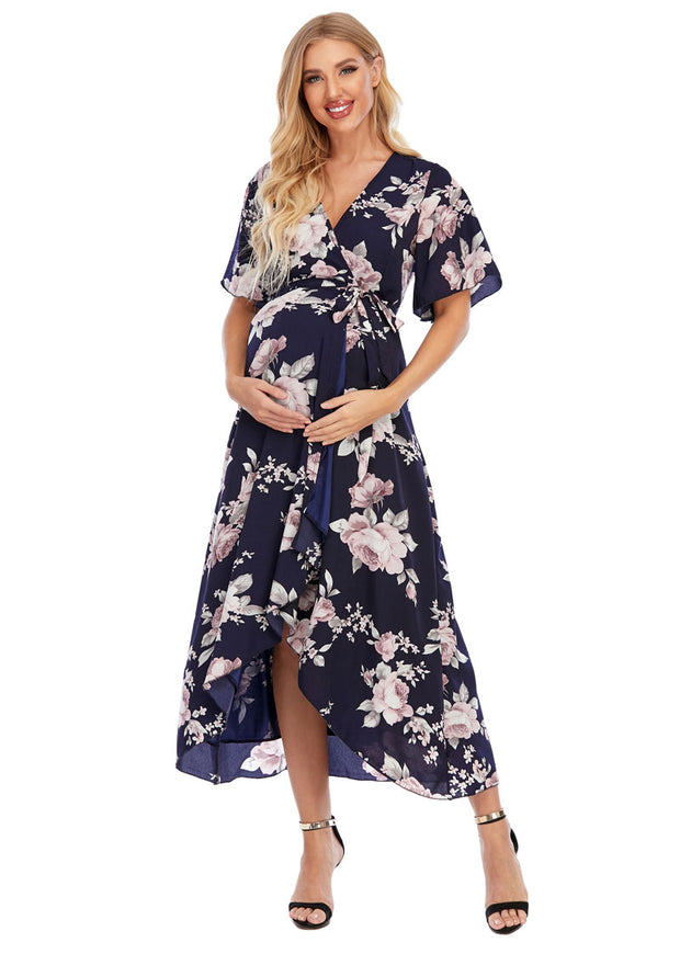 Peony Navy Maternity Wrap Dress