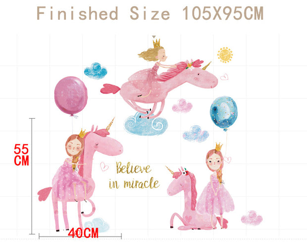 Pink Unicorn Baby Nursery Wall Sticker Size