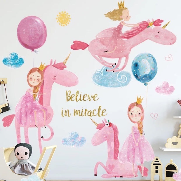 Pink Unicorn Baby Nursery Wall Sticker