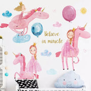 Pink Unicorn Baby Nursery Wall Sticker front