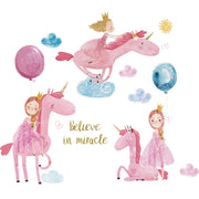 Pink Unicorn Baby Nursery Wall Sticker on white background