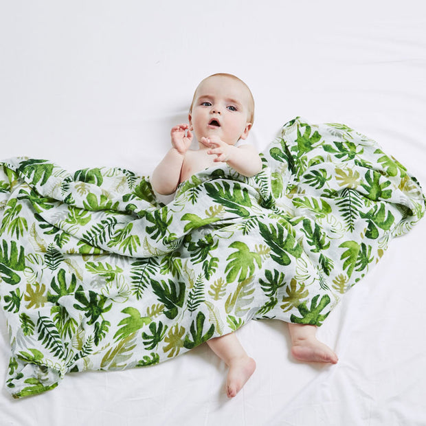 Plant Baby Swaddle Wrap with baby