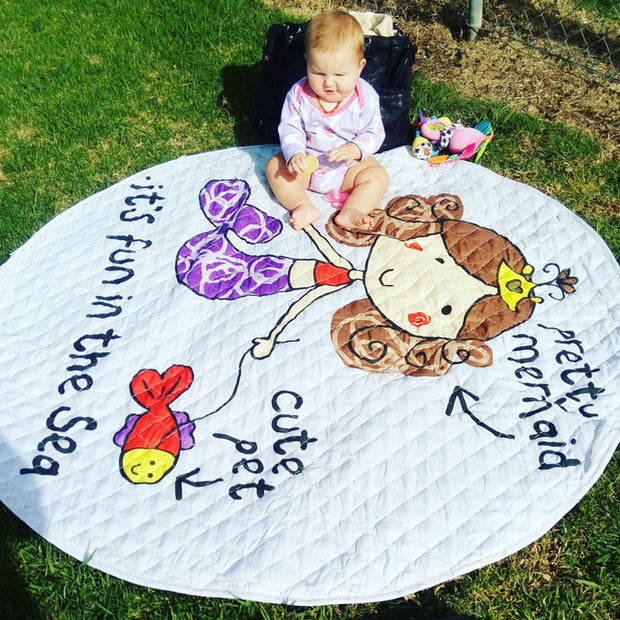 Pretty Mermaid Round Baby Play Mat Size 150 x 150 cm Customer Image