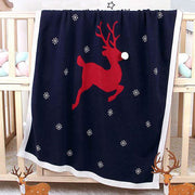 Red Reindeer Baby Blanket