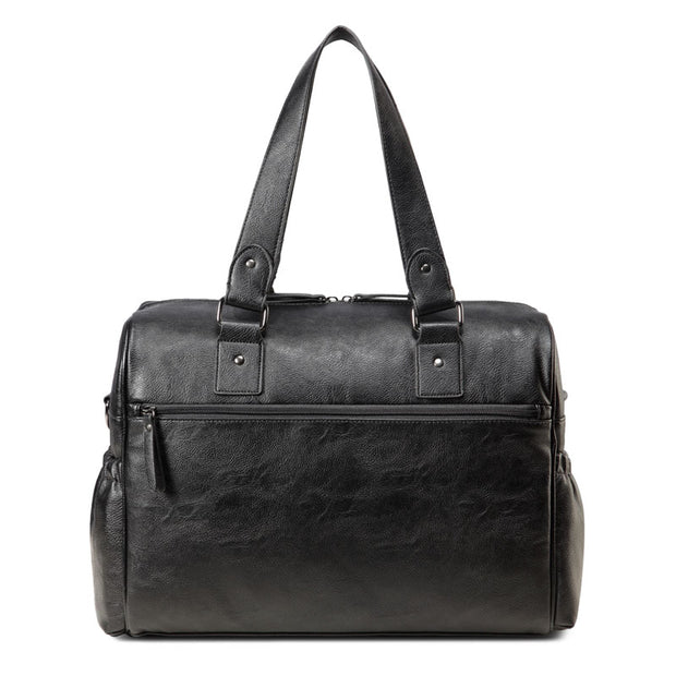 Sarah Carry All Black Nappy Bag PU Leather Backside