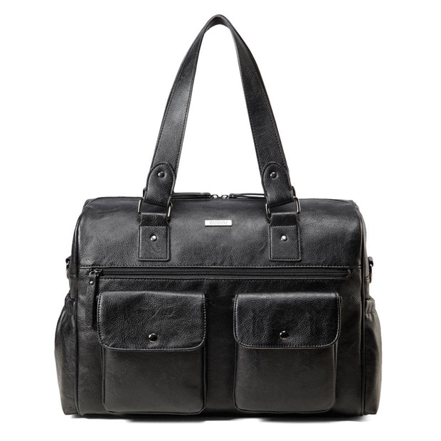 Sarah Carry All Black Nappy Bag PU Leather Front