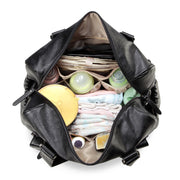 Sarah Carry All Black Nappy Bag PU Leather Inside with items