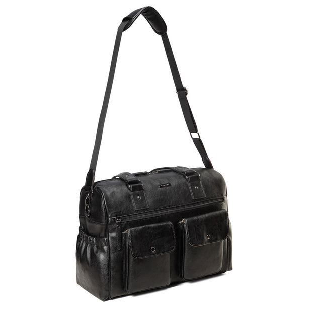Sarah Carry All Black Nappy Bag PU Leather front 1