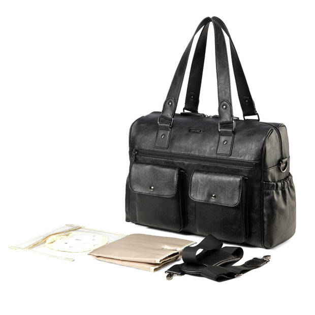 Sarah Carry All Black Nappy Bag PU Leather with accessories