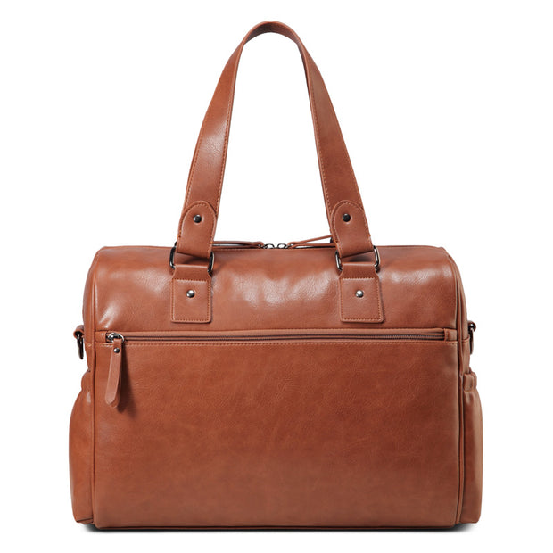 Sarah Carry All Tan Nappy Bag PU Leather Backside view