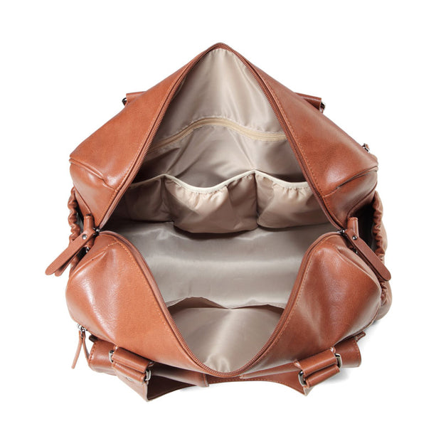 Sarah Carry All Tan Nappy Bag PU Leather inside empty