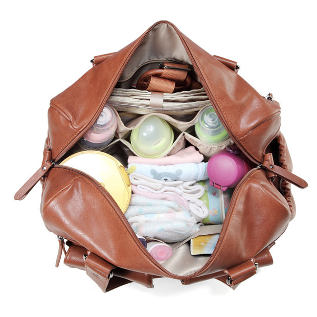 Sarah Carry All Tan Nappy Bag PU Leather inside with items