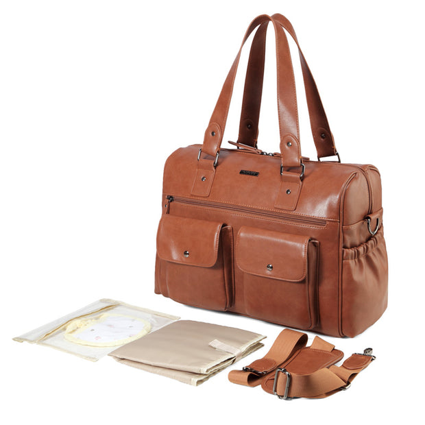 Sarah Carry All Tan Nappy Bag PU Leather with accessories