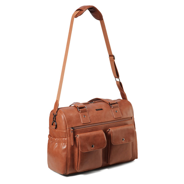 Sarah Carry All Tan Nappy Bag PU Leather with strap