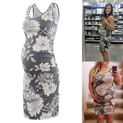 Serene Grey Floral Sleeveless Maternity Dress