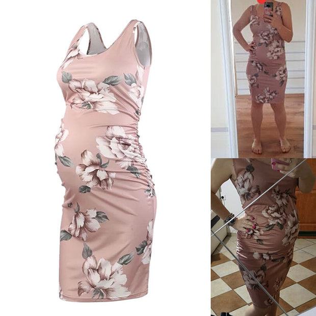 Serene Pastel Pink Floral Sleeveless Maternity Dress