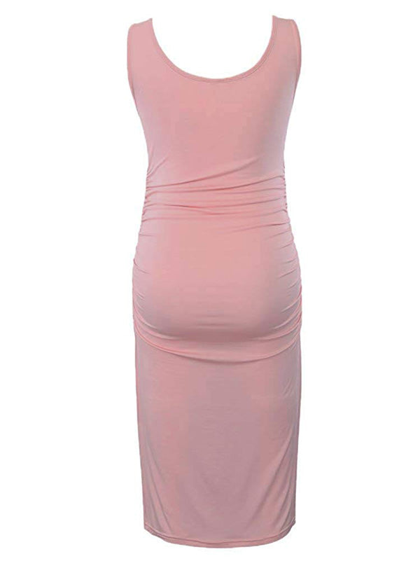Serene - Pink Sleeveless Maternity Dress