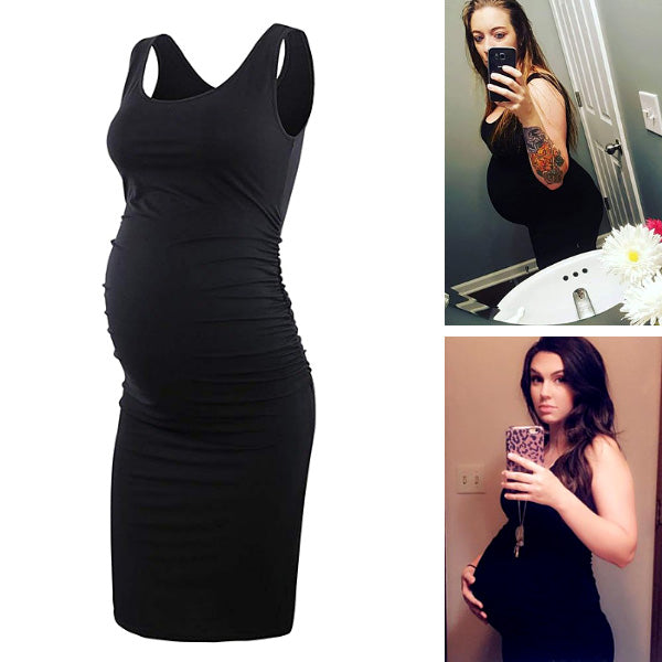 Serene – Black Sleeveless Maternity Dress