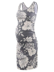 Serene - Grey Floral Sleeveless Maternity Dress