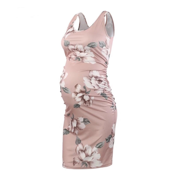 Serene – Pastel Pink Floral Sleeveless Maternity Dress