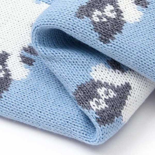 Sheep Blue Baby Blanket Closeup