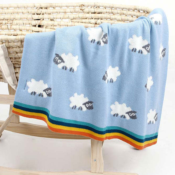 Sheep Blue Baby Blanket Cot 2