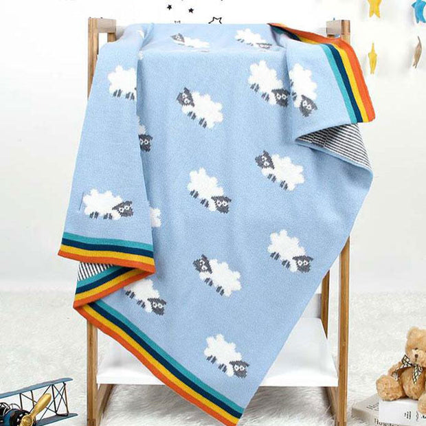 Sheep Blue Baby Blanket