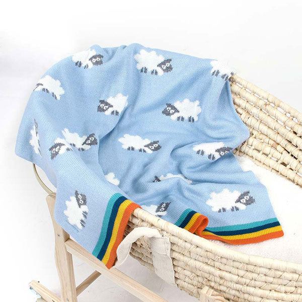 Sheep Blue Baby Blanket in Cot