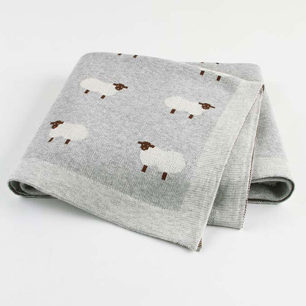 Sheep Grey Baby Blanket Fold