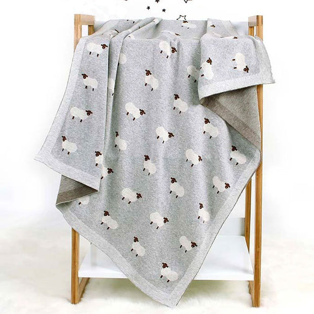 Sheep Grey Baby Blanket