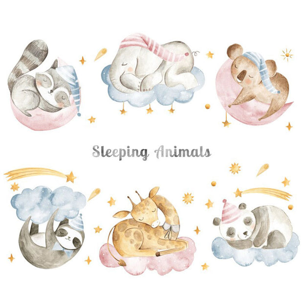 Sleeping Animals Baby Nursery Wall Sticker Print