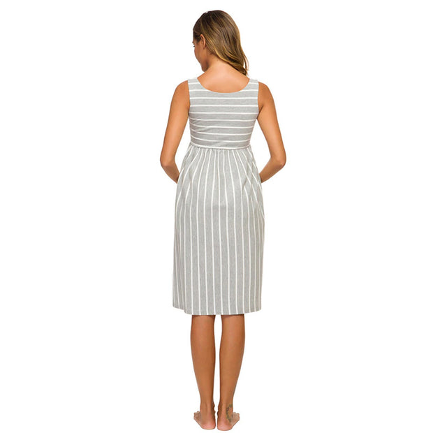 Sophia Grey Stripes Maternity Dress Backside