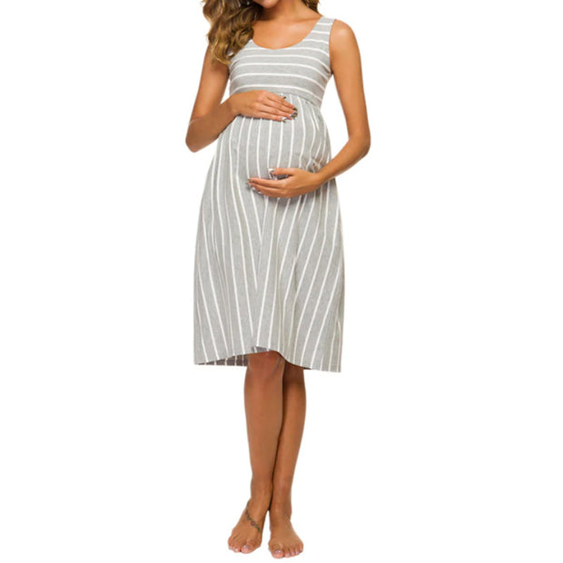 Sophia Grey Stripes Maternity Dress Front