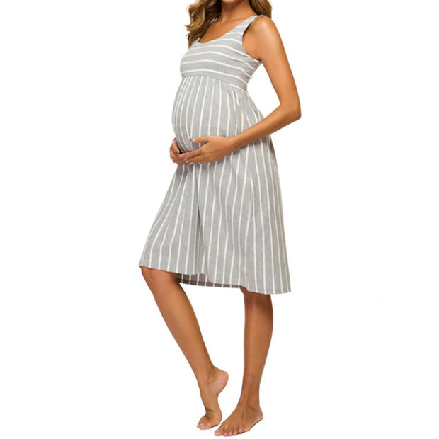 Sophia Grey Stripes Maternity Dress