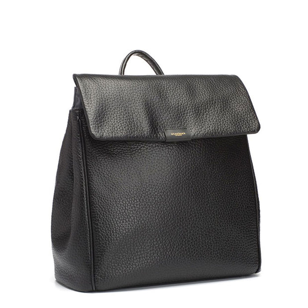 Storksak St James Leather Black Nappy Bag Backpack
