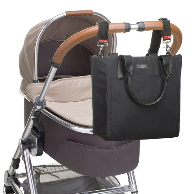 Storksak Eliza Black Nappy Bag on pram