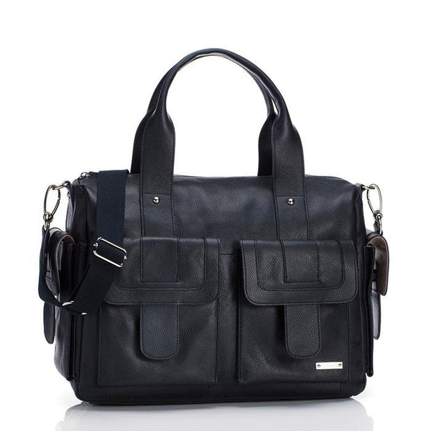 Storksak Sofia Leather Black Nappy Bag