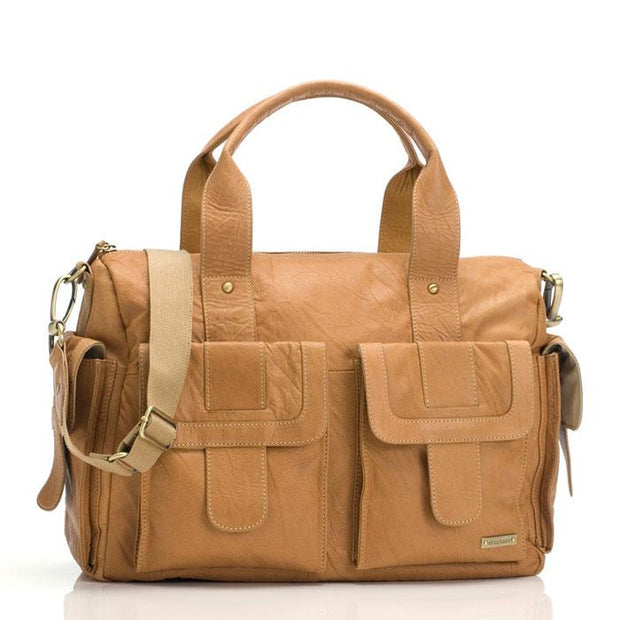 Storksak Sofia Leather Tan Nappy Bag