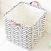 Stripes Square Collapsible Canvas Toy Storage Box Front