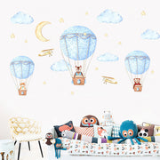 Three Friends Air Balloon Baby Nursery Wall Sticker 1